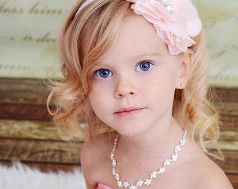 Pink Flower Headband, Light Pink Chiffon Flower w/ Pearls Rhinestones Headband or Hair Clip, The Cecilia, Baby Toddler Child Girls Headband