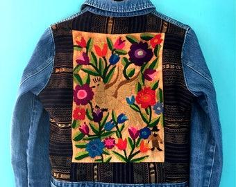 Stunning Vintage Guatemalan Textile Jean Jacket