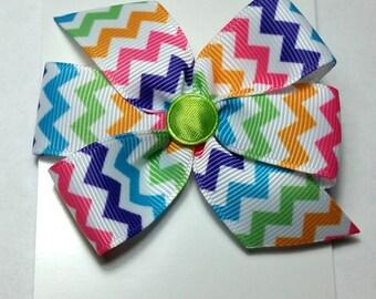 """2.5"""" Rainbow Chevron Hair Bow-Alligator Clip-Baby Hair Bow-Toddler Hair Bow"""