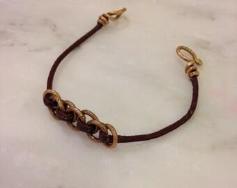 Chain mail brass bracelet