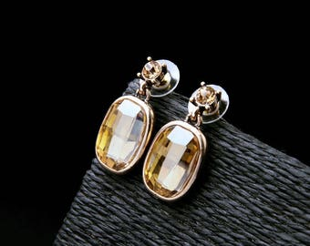 Sparkling Champagne crystal earrings