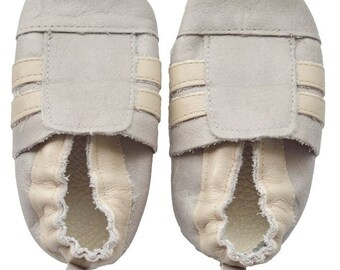 Genuine Leather Baby Moccasins   Sporty {Gray/Sand}