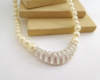 Retro Avon SAQ White Faux Pearl Marcasite Look 'Classic Drama' Necklace HH48