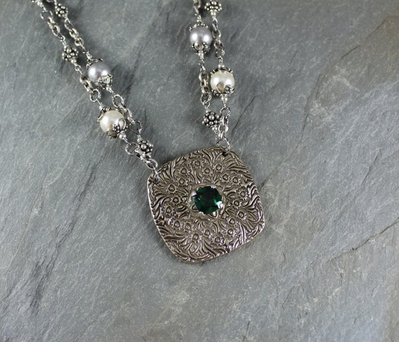 Rustic Romantic ~ Emerald pendant ~ Pearl necklace ~ Artisan Handcrafted
