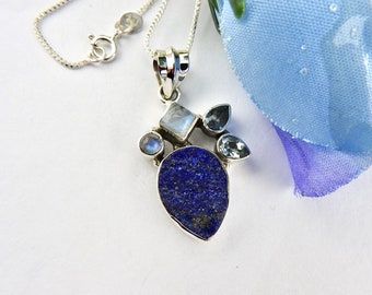 Lapis Lazuli Rainbow Moonstone and Blue Topaz pendant. Jewelry. Jewellery. Sterling silver. Necklace. Pendant. Lapis Lazuli. Moonstone.