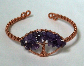 Copper Tree of Life Bracelet, Wire Wrapped