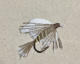 "Large 3"" Fishing Fly - White/Brown - Lure/Bait - Angling - Iron on Applique - Embroidered Patch - 697365-A"