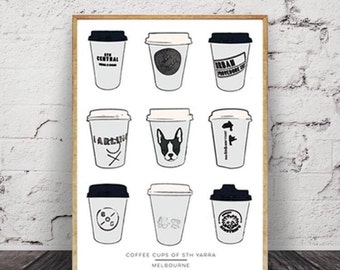 Melbourne Print | Coffee Cups of South Yarra | A3