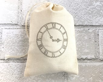 Vintage Clock Favor Bag Muslin Gift Bag Wedding Welcome Party Favor Baby Shower Rustic Theme Bachelorette Bridesmaid Gift Jewelry Soap