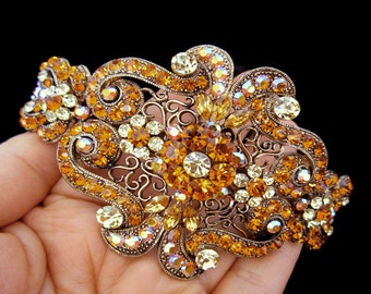 Large Crystal Victorian Style Hair Barrette Clip Accessory Ponytail Holder Antique Gold Plated Yellow Amber Topaz