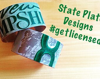 Hand Crafted, Upcycled, State Plate Cuff Bracelet; Various States