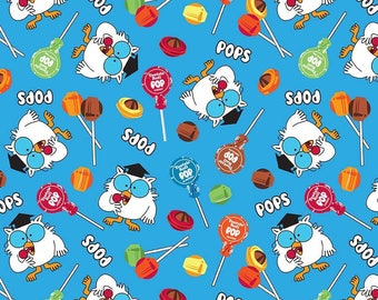 Tootsie Pop Owls on Blue cotton woven fabric by Riley Blake