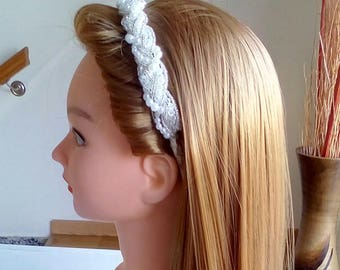 Satin and pearl headband