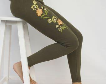 Khaki Embroided Leggings / Khaki Colorful Flower Embroided Leggings Clothing Gift Outdoors Gift