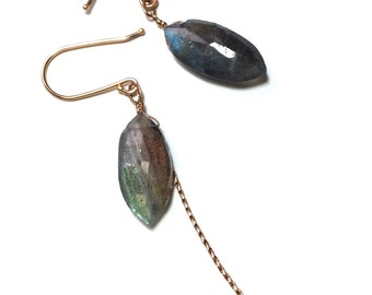 Labradorite Mina Gold Fringe Earrings | Ready to Ship | Drop Earrings with 14k Gold, Your choice of Smoky Quartz, Praisolite...