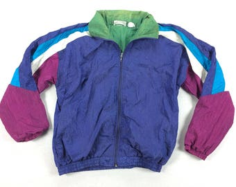 Vintage MacGregor Nylon Windbreaker Jacket Vaporwave Boxy Color Block Blue Green & Purple Hip Hop Dance Run