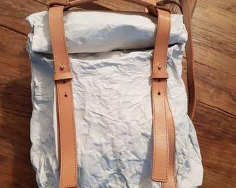 Backpack leather roll up leather backpack leather rucksack white and natural leather