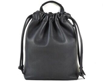 Amelie - Black Leather Drawstring Shopper Shoulder Bag Handmade SS17