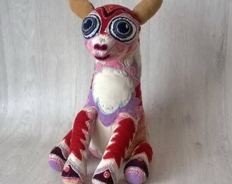 Hand knitted Doe toy, Handmade toy, Art doll - soft toy, plush toy, stuffed toy