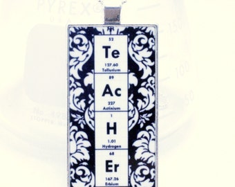 Chemistry Teacher Necklace - Damask - Personalized with elements from the periodic table - gift idea