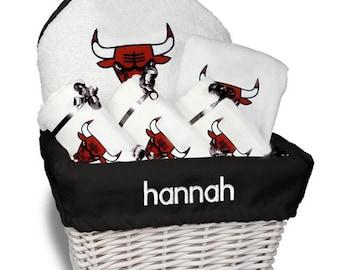 Personalized Chicago Bulls Baby Gift Basket - Bib, 3 Burp Cloths, Towel Set - Medium