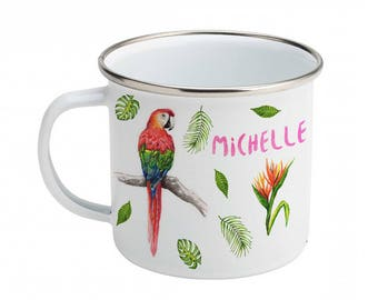 Personalized enamel mug as a birthday or baby shower gift with parrot,  zebra  and tropical decoration - handpainted - watercolor