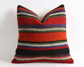 Colorful Stripe kilim pillow cover // bohemian vintage home decor