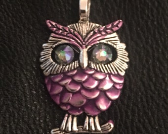 Owl Pendant with Swarovski Crystal Eyes - Orchid Color Feathers