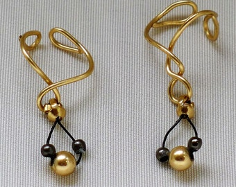 Gold earcuff with dangling black and gold beads*nonpiercing cartilage jewelry*left ear and right ear ornament*looped  gold cuff*drop earring