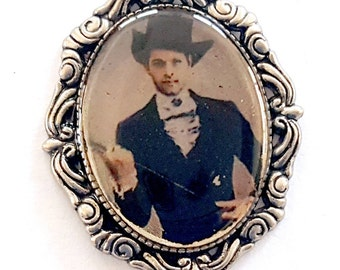Victorian Steampunk Castiel Faux Tintype Pendant