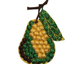 ID 1163Z Pear On Tree Patch Summer Fruit Vine Embroidered Iron On Applique