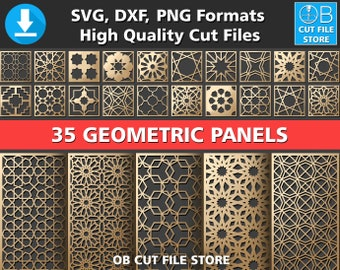 35 Geometric Pattern Panel Templates DXF SVG PNG File Laser Cut Cnc kit Dijital Room Devider Wall Stencil Vector Graphic Design Download