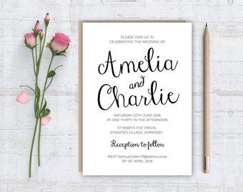 Printable (DIY) HAPPY SCRIPT - Black & white - Wedding Invitation Stationery Set
