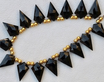 19 piece faceted fancy drilled BLACK SPINEL briolette beads 11 x 19 mm approx...wholesale price, awesome quality, new arrival, mystic