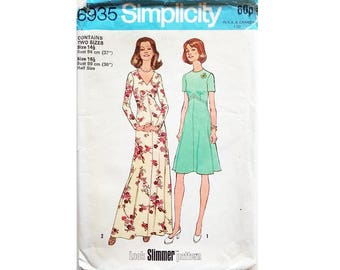 """Simplicity 6935 Vintage 70s Look Slimmer Fit and Flare Day Mid or Maxi Evening Dress Sewing Pattern 2 Sizes Bust 37"""" 39"""""""