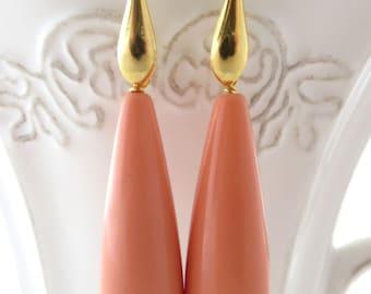 Pink coral earrings, dangle earrings, drop earrings, golden sterling silver 925 earrings, bridesmaid jewelry, italian jewelry, gioielli
