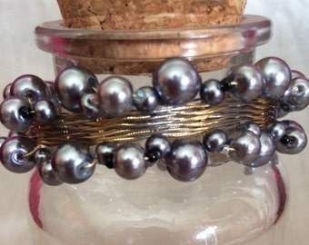 Gray and Black Woven Pearl Bracelet; Pearl Bracelet; Beaded Bracelet; Multi-Strand Bracelet; Wire-Wrapped Bracelet; Statement Jewelry
