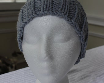 Hand-Knit Hat - Purled Swirl in Steel Blue