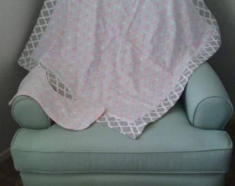 Flannel Receiving Blanket Pink Birds with Burp Cloth