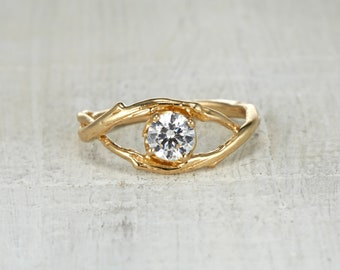 Delicate Ring. Moissanite Ring. 5mm Forever One Moissanite. Large Unity Solitaire Ring. Yellow Gold, White Gold, Rose Gold or Platinum