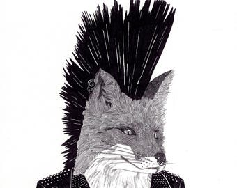 Punk Fox - Limited Edition of 50 Signed Giclee Prints