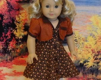 August Leaves - Gored Sleeveless Dress and Jacket for American Girl doll
