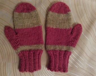 Childs mittens, Childs hand knit mittens, Childs wool/acrylic mittens, wool/acrylic mittens, kids mittens, children mittens, hand knit, knit