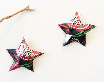 Dr. Pepper Cherry OR DIET Dr. Pepper Cherry Stars Christmas Ornaments Soda Can Upcycled Repurposed