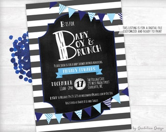 B is for Baby Boy & Brunch Shower Invitation Printable