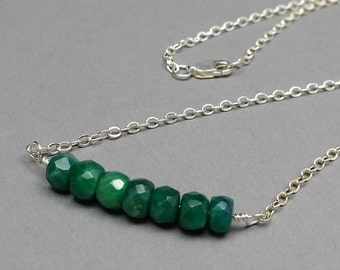 Genuine Raw Emerald and Sterling Silver Necklace, May Birthstone Necklace, Minimalist Jewelry