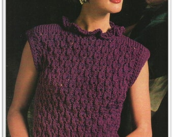 Sleeveless Sweater with Ruffled Neckline PATTERN - Knitting - Sizes 10 12 14 16 18 20 - Pattern 03160212