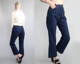 "Vtg 80s Dark Denim Cropped Kick Flare Jeans 24"" Waist sz XS"