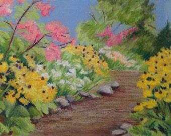 Original landscape pastel Garden Path