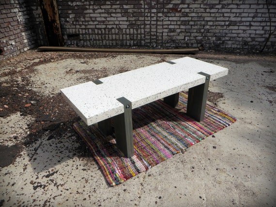 Concrete Recycled Glass Coffee Table Wood Frame Furniture - Concrete and glass coffee table
